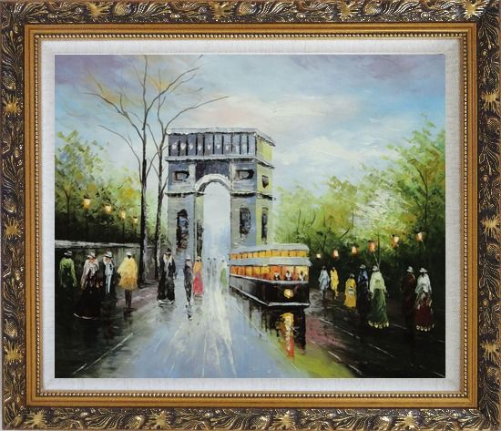 Framed Arc de Triomphe and Avenue des Champs Elysees Oil Painting Cityscape France Impressionism Ornate Antique Dark Gold Wood Frame 26 x 30 Inches