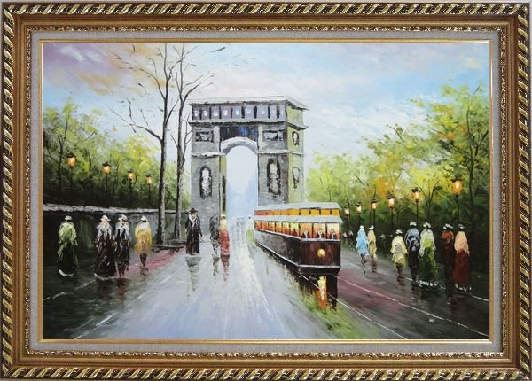 Framed Arc de Triomphe and Avenue des Champs Elysees Oil Painting Cityscape France Impressionism Exquisite Gold Wood Frame 30 x 42 Inches