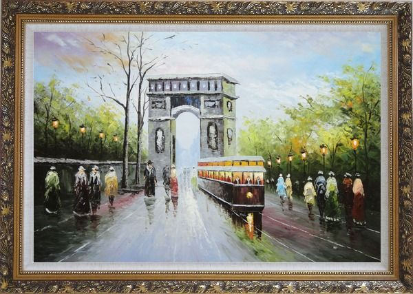 Framed Arc de Triomphe and Avenue des Champs Elysees Oil Painting Cityscape France Impressionism Ornate Antique Dark Gold Wood Frame 30 x 42 Inches