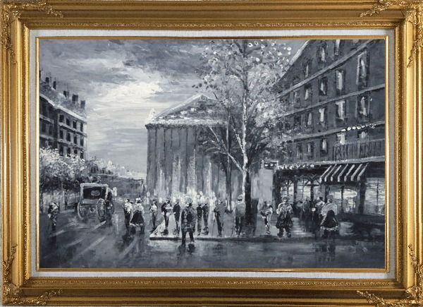 Framed Black and White Paris Street Scene Near Madeleine Oil Painting Cityscape Impressionism Gold Wood Frame with Deco Corners 31 x 43 Inches
