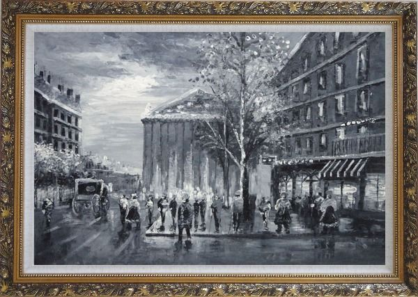 Framed Black and White Paris Street Scene Near Madeleine Oil Painting Cityscape Impressionism Ornate Antique Dark Gold Wood Frame 30 x 42 Inches