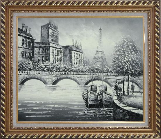 Framed Black White Eiffel Tower Seine River Bridge Oil Painting Cityscape Impressionism Exquisite Gold Wood Frame 26 x 30 Inches