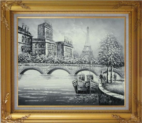 Framed Black White Eiffel Tower Seine River Bridge Oil Painting Cityscape Impressionism Gold Wood Frame with Deco Corners 27 x 31 Inches