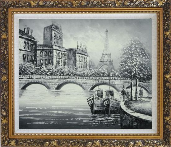 Framed Black White Eiffel Tower Seine River Bridge Oil Painting Cityscape Impressionism Ornate Antique Dark Gold Wood Frame 26 x 30 Inches