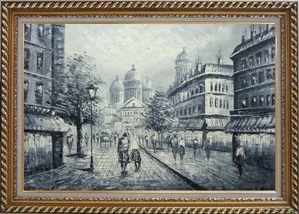 Framed Black and White Basilica of the Sacred Heart of Paris Oil Painting Cityscape Impressionism Exquisite Gold Wood Frame 30 x 42 Inches