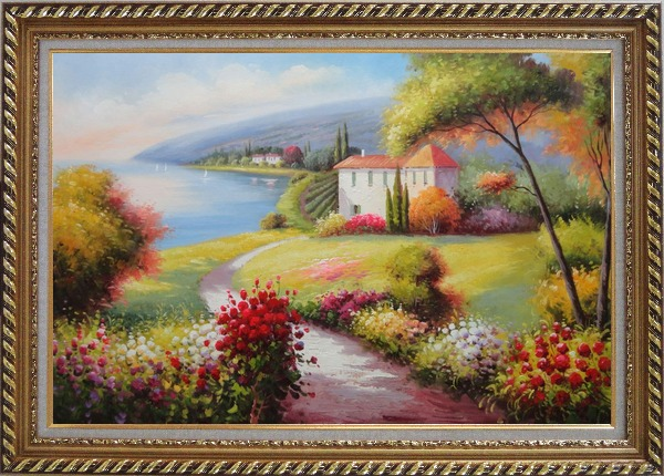 Framed Gorgeous Italy Tuscany Seashore Landscape Oil Painting Mediterranean Naturalism Exquisite Gold Wood Frame 30 x 42 Inches