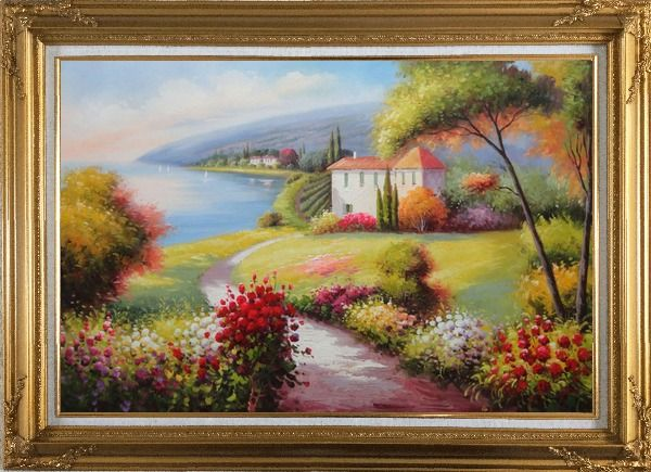 Framed Gorgeous Italy Tuscany Seashore Landscape Oil Painting Mediterranean Naturalism Gold Wood Frame with Deco Corners 31 x 43 Inches