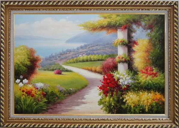 Framed Small Path In Stunning Mediterranean Garden View Oil Painting Naturalism Exquisite Gold Wood Frame 30 x 42 Inches