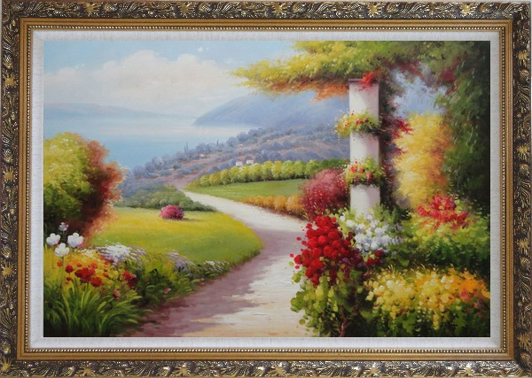 Framed Small Path In Stunning Mediterranean Garden View Oil Painting Naturalism Ornate Antique Dark Gold Wood Frame 30 x 42 Inches