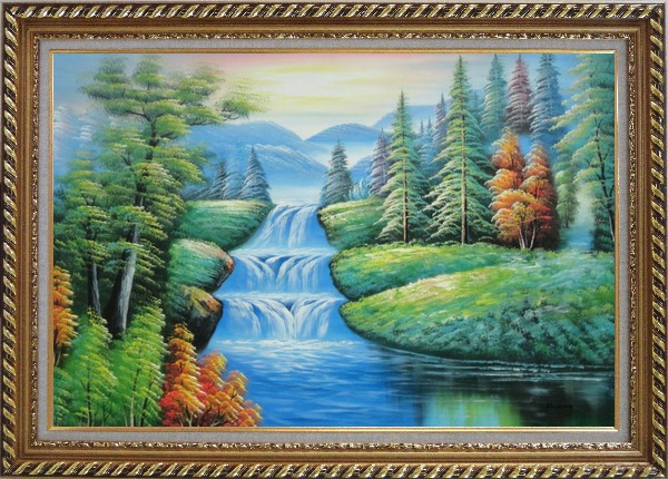 Framed Water Falls in Green Spring with Forest and Mountain Oil Painting Landscape Waterfall Naturalism Exquisite Gold Wood Frame 30 x 42 Inches