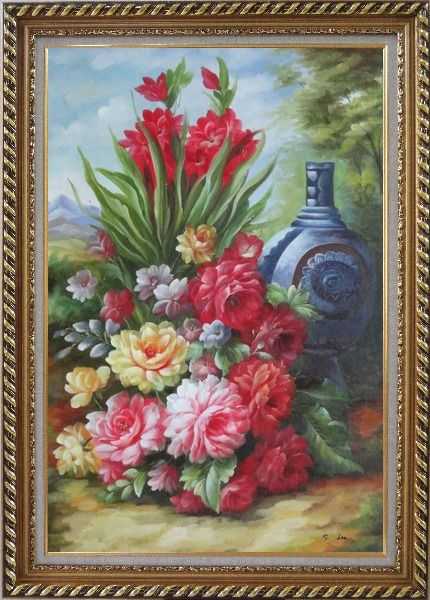 Framed Peonies, Giant Blue Vase in a Landscape Oil Painting Flower Bouquet Classic Exquisite Gold Wood Frame 42 x 30 Inches