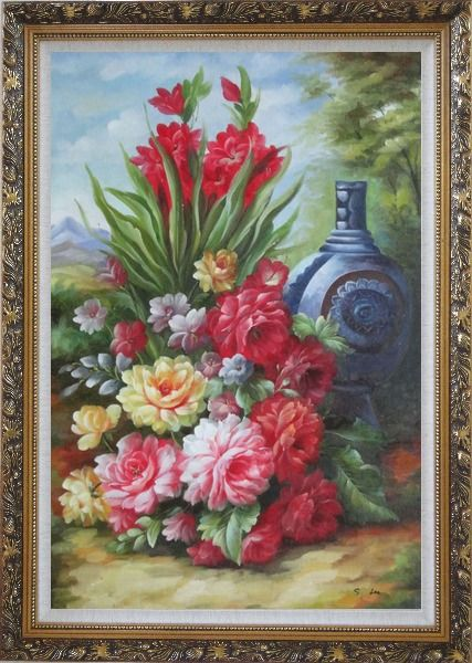 Framed Peonies, Giant Blue Vase in a Landscape Oil Painting Flower Bouquet Classic Ornate Antique Dark Gold Wood Frame 42 x 30 Inches