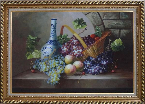 Framed Still Life of Grapes, Peaches, Basket and Blue Pattern White Jar Oil Painting Fruit Classic Exquisite Gold Wood Frame 30 x 42 Inches