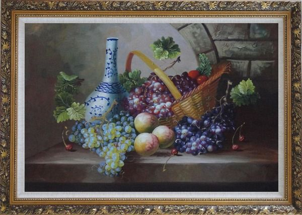 Framed Still Life of Grapes, Peaches, Basket and Blue Pattern White Jar Oil Painting Fruit Classic Ornate Antique Dark Gold Wood Frame 30 x 42 Inches