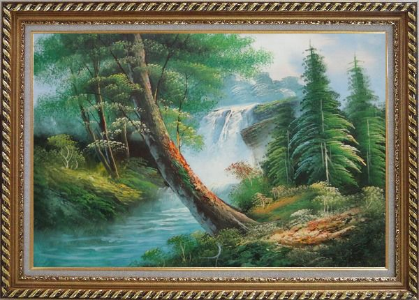 Framed Waterfall and Cascades Down from Green Alpine Forest Oil Painting Landscape Naturalism Exquisite Gold Wood Frame 30 x 42 Inches