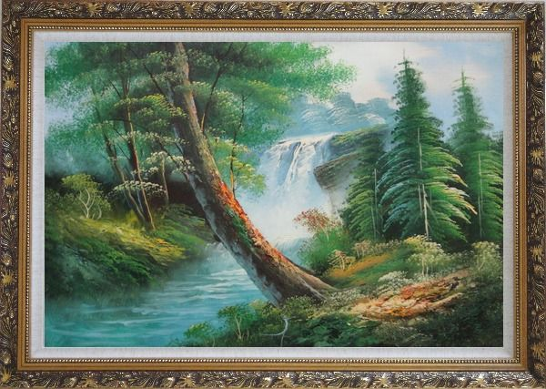 Framed Waterfall and Cascades Down from Green Alpine Forest Oil Painting Landscape Naturalism Ornate Antique Dark Gold Wood Frame 30 x 42 Inches