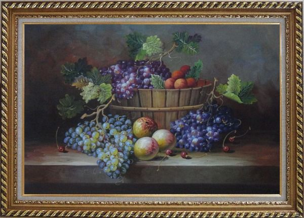 Framed Cherry, Purple And Green Grapes, Peaches and Pears In a Basket Oil Painting Still Life Fruit Classic Exquisite Gold Wood Frame 30 x 42 Inches
