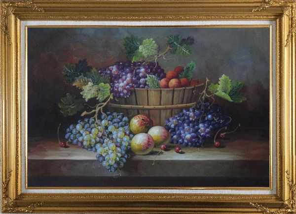 Framed Cherry, Purple And Green Grapes, Peaches and Pears In a Basket Oil Painting Still Life Fruit Classic Gold Wood Frame with Deco Corners 31 x 43 Inches