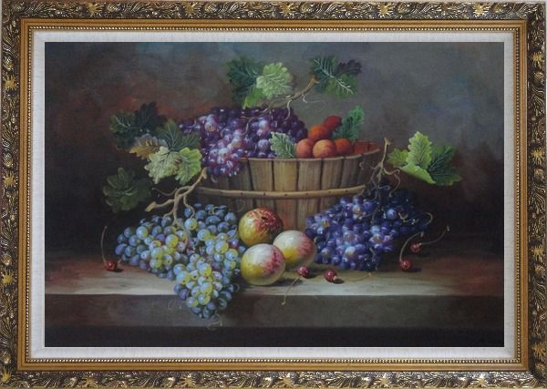 Framed Cherry, Purple And Green Grapes, Peaches and Pears In a Basket Oil Painting Still Life Fruit Classic Ornate Antique Dark Gold Wood Frame 30 x 42 Inches
