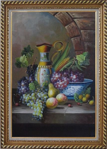 Framed Delicate Jar and Fruit Bowl with Grapes, Peaches, Pears, Cherry On Marble Ledge Oil Painting Still Life Classic Exquisite Gold Wood Frame 42 x 30 Inches
