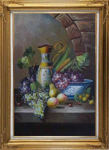 Framed Delicate Jar and Fruit Bowl with Grapes, Peaches, Pears, Cherry On Marble Ledge Oil Painting Still Life Classic Gold Wood Frame with Deco Corners 43 x 31 Inches