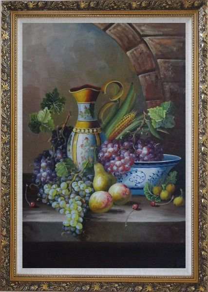 Framed Delicate Jar and Fruit Bowl with Grapes, Peaches, Pears, Cherry On Marble Ledge Oil Painting Still Life Classic Ornate Antique Dark Gold Wood Frame 42 x 30 Inches