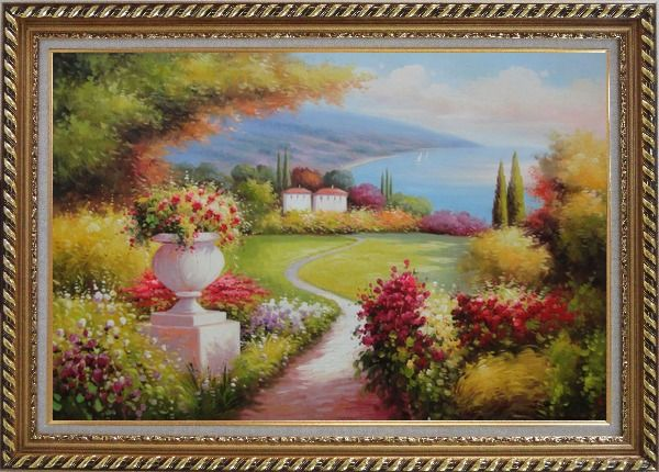 Framed Garden of Paradise with Amazing Sea View at Mediterranean Coast Oil Painting Naturalism Exquisite Gold Wood Frame 30 x 42 Inches