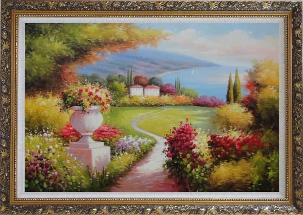 Framed Garden of Paradise with Amazing Sea View at Mediterranean Coast Oil Painting Naturalism Ornate Antique Dark Gold Wood Frame 30 x 42 Inches
