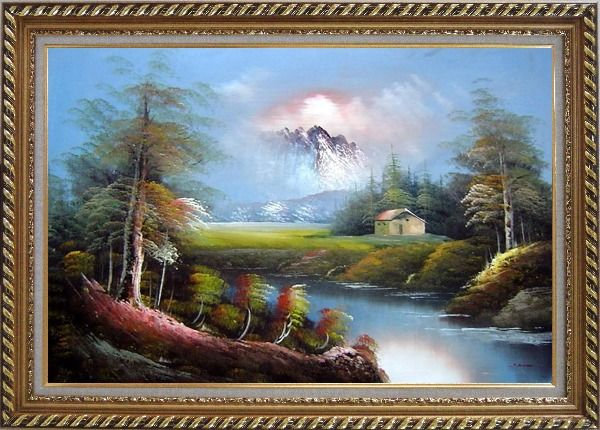 Framed Pond-Side Cottage Under Snow Mountain Oil Painting Landscape River Naturalism Exquisite Gold Wood Frame 30 x 42 Inches