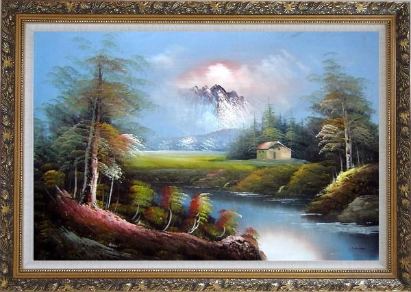 Framed Pond-Side Cottage Under Snow Mountain Oil Painting Landscape River Naturalism Ornate Antique Dark Gold Wood Frame 30 x 42 Inches