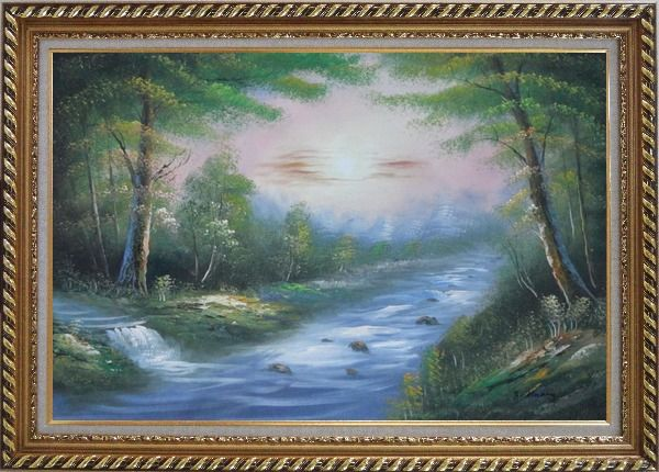 Framed Flowing Water Stream and Forest Oil Painting Landscape River Naturalism Exquisite Gold Wood Frame 30 x 42 Inches