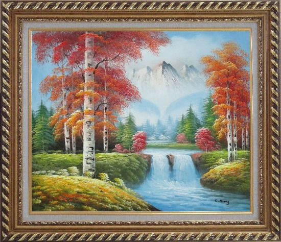 Framed Small Waterfall Scenery in Autumn Oil Painting Landscape Naturalism Exquisite Gold Wood Frame 26 x 30 Inches