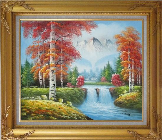 Framed Small Waterfall Scenery in Autumn Oil Painting Landscape Naturalism Gold Wood Frame with Deco Corners 27 x 31 Inches