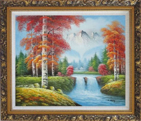 Framed Small Waterfall Scenery in Autumn Oil Painting Landscape Naturalism Ornate Antique Dark Gold Wood Frame 26 x 30 Inches