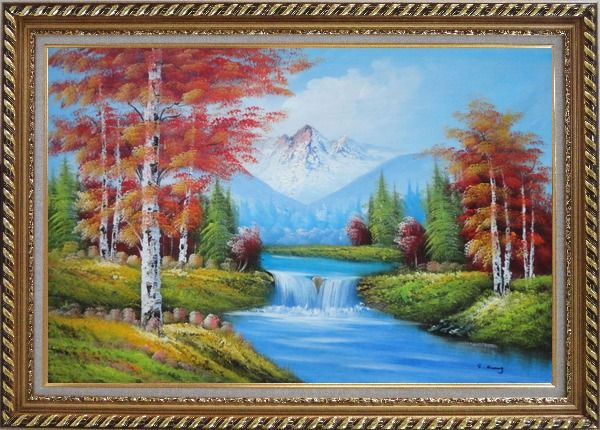 Framed Small Waterfall Scenery in Autumn Oil Painting Landscape Naturalism Exquisite Gold Wood Frame 30 x 42 Inches