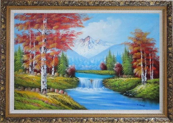 Framed Small Waterfall Scenery in Autumn Oil Painting Landscape Naturalism Ornate Antique Dark Gold Wood Frame 30 x 42 Inches