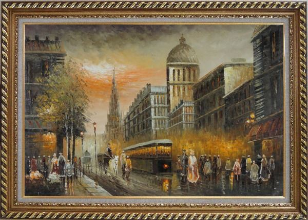 Framed Early Nineteenth Century American Street Scene Oil Painting Cityscape France Impressionism Exquisite Gold Wood Frame 30 x 42 Inches