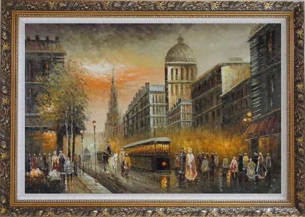 Framed Early Nineteenth Century American Street Scene Oil Painting Cityscape France Impressionism Ornate Antique Dark Gold Wood Frame 30 x 42 Inches