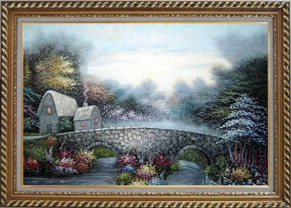 Framed Stretched Flowers, Stone Bridge and Cabins Oil Painting Garden Naturalism Exquisite Gold Wood Frame 30 x 42 Inches