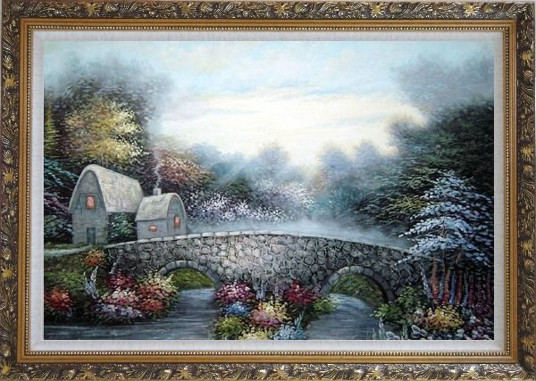 Framed Stretched Flowers, Stone Bridge and Cabins Oil Painting Garden Naturalism Ornate Antique Dark Gold Wood Frame 30 x 42 Inches