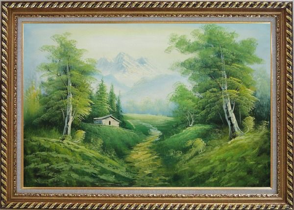 Framed Small Cottage on An Early Spring Country Trail Oil Painting Landscape Mountain Naturalism Exquisite Gold Wood Frame 30 x 42 Inches