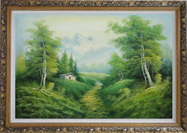 Framed Small Cottage on An Early Spring Country Trail Oil Painting Landscape Mountain Naturalism Ornate Antique Dark Gold Wood Frame 30 x 42 Inches
