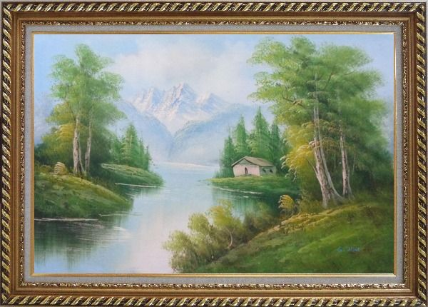 Framed Riverside Cottage Under Snow Mountain Oil Painting Landscape Naturalism Exquisite Gold Wood Frame 30 x 42 Inches