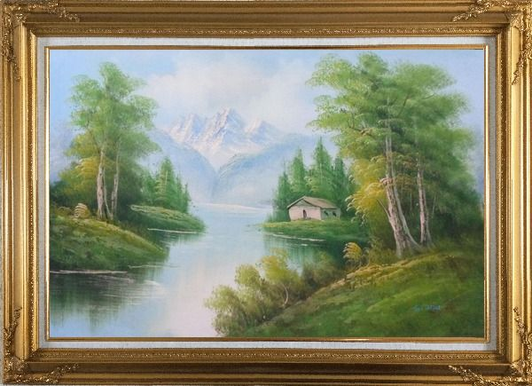 Framed Riverside Cottage Under Snow Mountain Oil Painting Landscape Naturalism Gold Wood Frame with Deco Corners 31 x 43 Inches