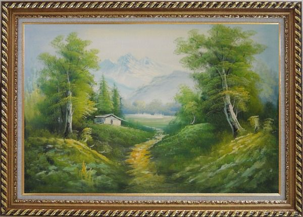 Framed A Peaceful Trail in Spring Countryside Oil Painting Landscape River Naturalism Exquisite Gold Wood Frame 30 x 42 Inches