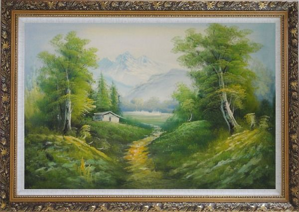 Framed A Peaceful Trail in Spring Countryside Oil Painting Landscape River Naturalism Ornate Antique Dark Gold Wood Frame 30 x 42 Inches