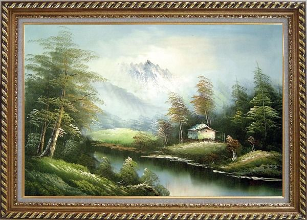 Framed Tranquility Oil Painting Landscape River Naturalism Exquisite Gold Wood Frame 30 x 42 Inches