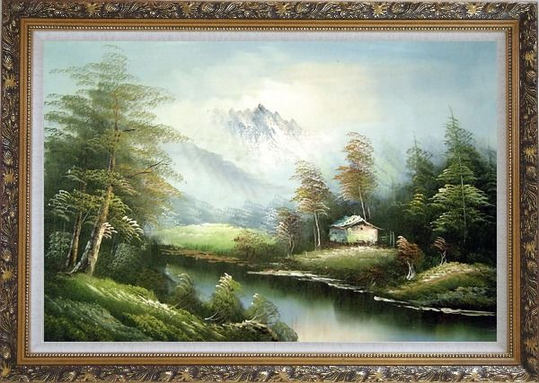 Framed Tranquility Oil Painting Landscape River Naturalism Ornate Antique Dark Gold Wood Frame 30 x 42 Inches