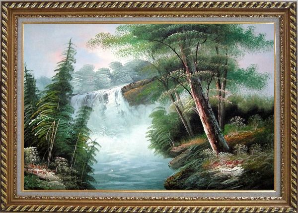 Framed Fantastic Waterfall Scenery Oil Painting Landscape Naturalism Exquisite Gold Wood Frame 30 x 42 Inches