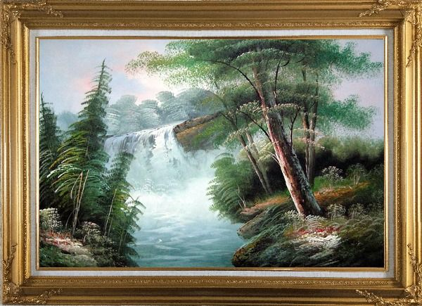 Framed Fantastic Waterfall Scenery Oil Painting Landscape Naturalism Gold Wood Frame with Deco Corners 31 x 43 Inches